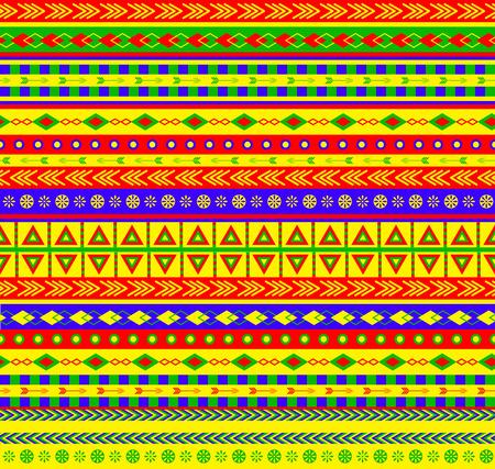 canlı renkli: canlı renk düzeni Aztek elemanları ile vektör seamless pattern