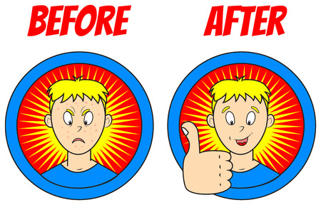 pimples: vector image of a teenage boys face in cartoon style: with pimples and without