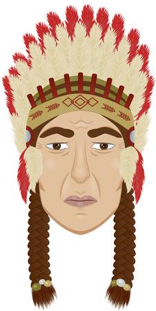 chieftain: immagine di un volto caicco coraggioso su sfondo isolato Vettoriali