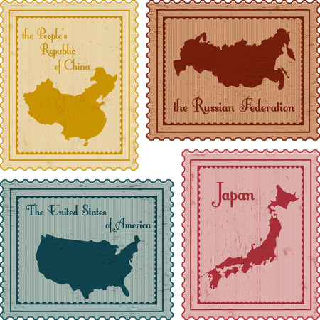 china stamps: set of vintage poastal stamps: China, Russia, USA and Japan
