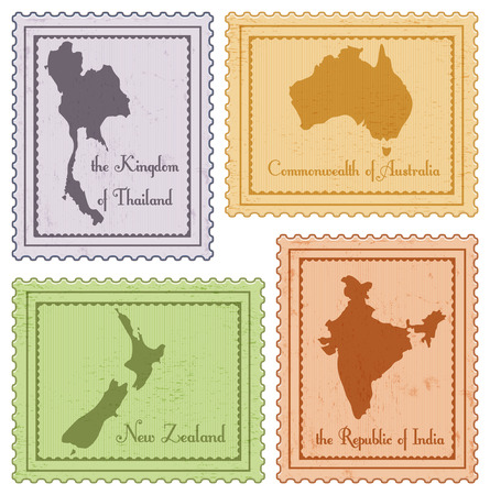 set of vintage poastal stamps: Thailand, India, Australia and New Zeland Illustration