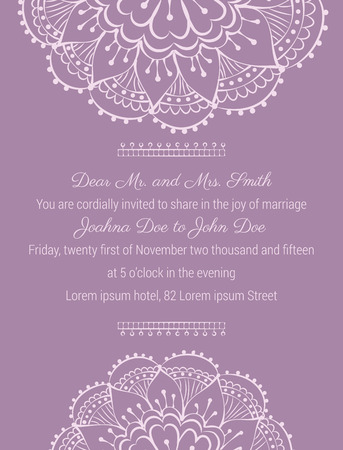 wedding invitation template on tender violet background with handdrawn flowers