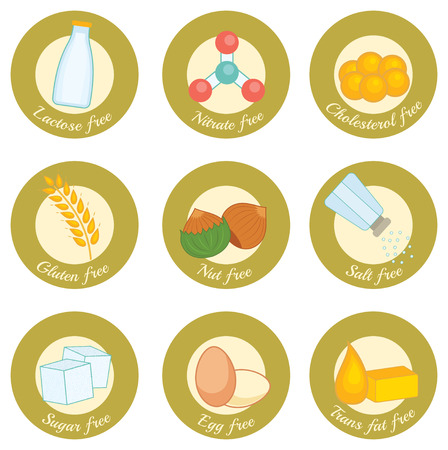 set of retro style icons concerning nutrition: lactose free, nitrate free, cholesterol free, gluten free, nut free, salt free, sugar free, egg free, trans fat free