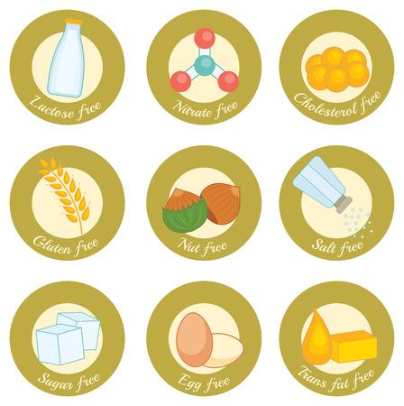 set of retro style icons concerning nutrition: lactose free, nitrate free, cholesterol free, gluten free, nut free, salt free, sugar free, egg free, trans fat free