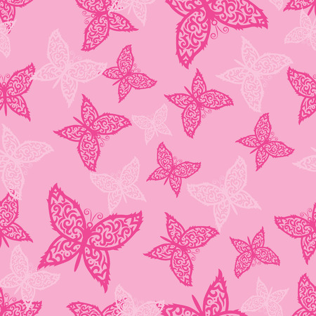 vector seamless pattern of beautiful butterflies on pink background Vector