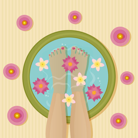 image of women legs in a basin with lotos and frangipane flowers, surrounded with candles Иллюстрация