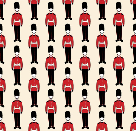 vector seamless pattern with a british guardsmen images Vector
