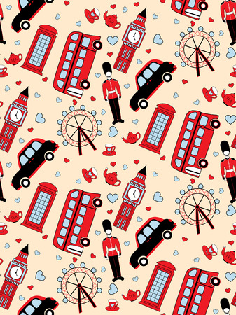 vector seamless pattern with traditional symbols of London