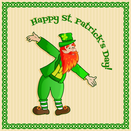 postcard template of a funny leprechaun on striped background Vector