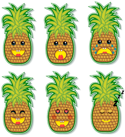 set of crazy and funny pineapple faces Vector