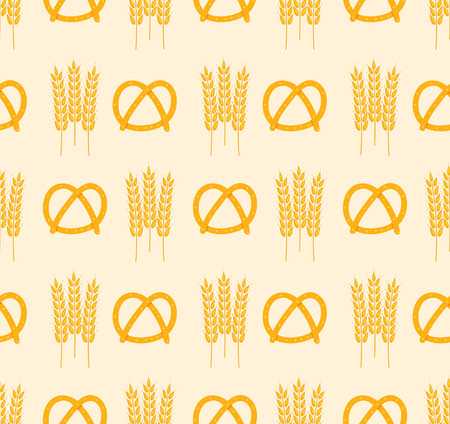 vector seamless pattern with images of pretzel and wheat ears