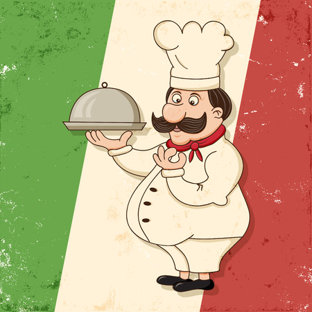 image of funny italian chef character with grunge background Vector