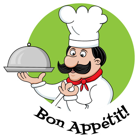 vector funny image of chef character and bon appetit text Vector