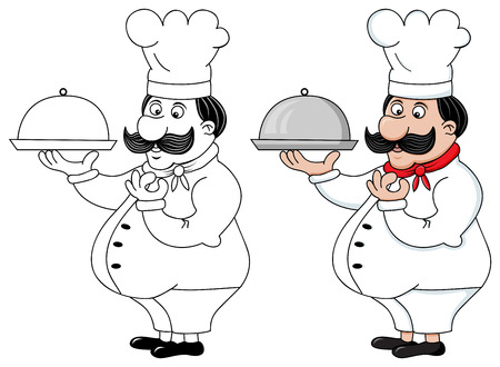 image of funny cook: silhouette and colored variants Vector