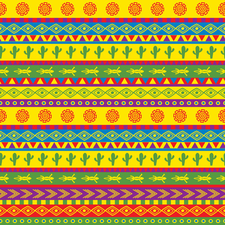 vector seamless mexican pattern in bright color scheme Ilustração
