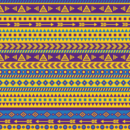 vector seamless aztec pattern in bright color scheme