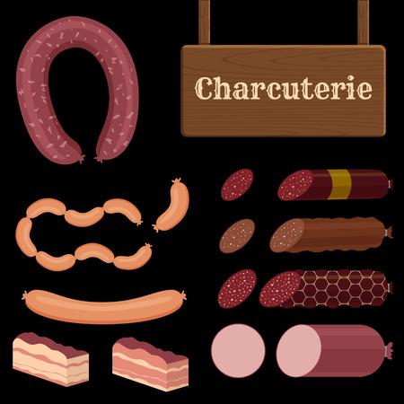charcuter�a: set de iconos de diferentes salchichas con signo charcuter�a Vectores