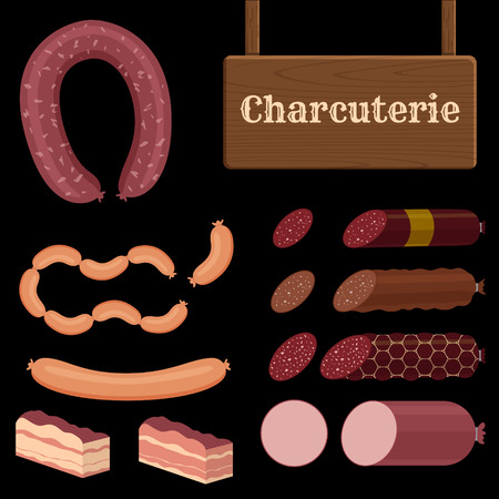 set of different sausage icons with charcuterie sign