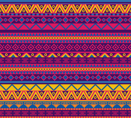 mayan culture: bright vector seamless pattern in mexican style