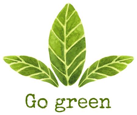 """Ecologisch concept. Handgeschilderde aquarel illustratie van drie groene bladeren op geïsoleerde achtergrond en """"go green"""" tekst. Grungetextuur werd gebruikt op de tekst. Deze bladeren kunnen ook als groene thee of laurierblaadjes uit te voeren."""
