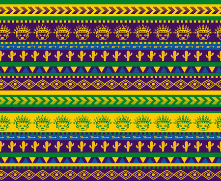 vector seamless aztec pattern with cactus and funny warrior face images Иллюстрация