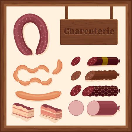 charcuter�a: set de iconos de diferentes embutidos con el signo de charcuter�a y el borde de madera