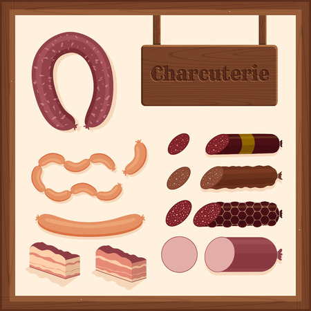 set of different sausage icons with charcuterie sign and wooden border