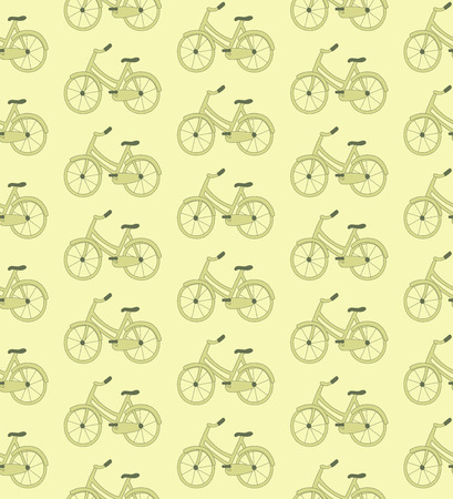 Vector seamless pattern with images of beautiful retro styled bicycles. Created in tender muted green color scheme. The bicycles are hand drawn and represent doodle style. Vector