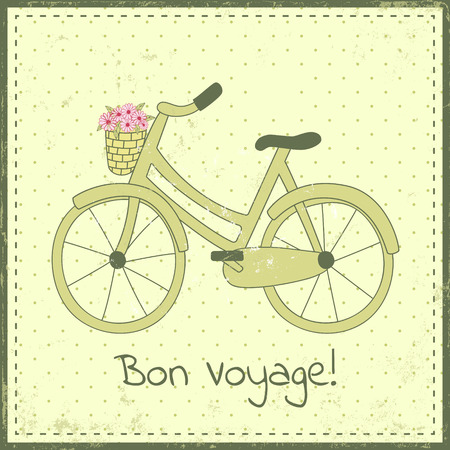 eco flowers basket: Greeting card template with bike illustration and bon voyage text. There is a basket full of daisy flowers on the bike. Green color scheme, hand-drawn doodle style, retro styled dotted background with grunge effect.