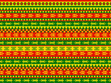 indigenous: Funky seamless geometric vector pattern in vivid, red, green and yellow color scheme. There are funny images of turtles and geckos. Traditional aztec tribal indigenous motives with modern twist.