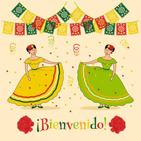 """bandera de mexico: plantilla del cartel v�vido con la ilustraci�n de carnaval mexicano: mujeres vestidas tradicionales, banderas cortadas mexicanos y espa�oles texto """"bienvenido"""" que se traduce como """"bienvenida"""""""