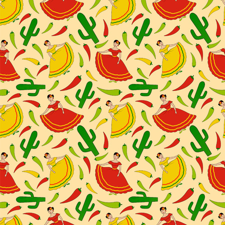 funny vector seamless pattern with happy dancing mexican women, cactus and green, yellow and red chili peppers Illustration
