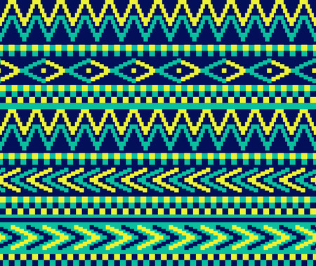 traditional pattern: vector seamless pixeled pattern in geometric style