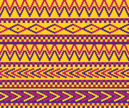 vector seamless pixeled pattern in geometric style and vivid color scheme Vector