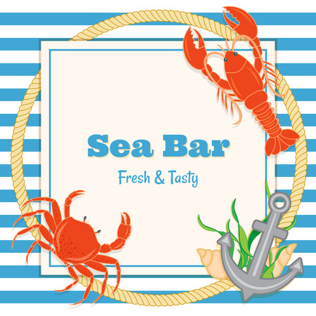 sea food bar menu template with images of lobster. crab, anchor, rope, sea shells and sea weed Vector
