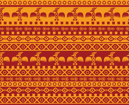 vector seamless abstract geometric pattern in aztec and mexican style with traditional ornaments and eagle images Vector