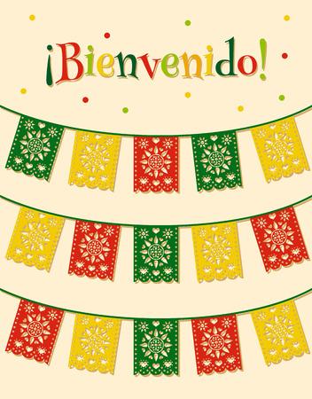 """bandera de mexico: plantilla con colgando banderas tradicionales mexicanos y españoles texto """"bienvenido"""" traducido como """"bienvenida"""""""
