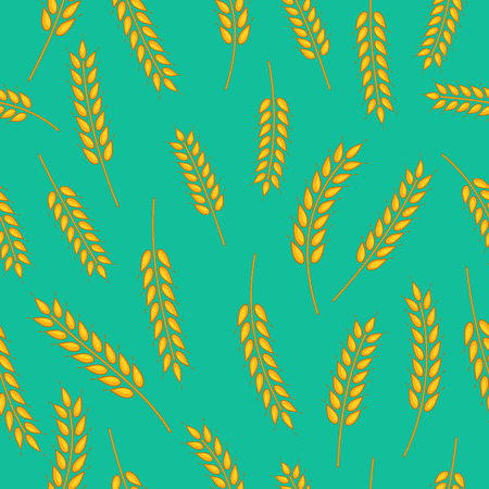 green wheat: colorful vector seamless pattern with images of wheat spikelets on vintage green background