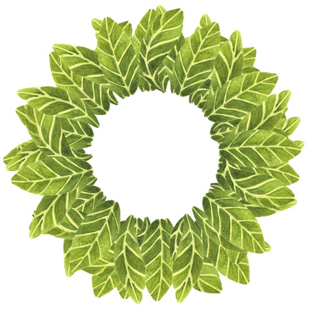ilustration and painting: beautiful wreath which consists of hand painted in watercolor leaves on isolated background