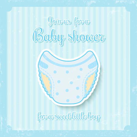 baby diaper: cute baby shower invitation for baby boy in soft blue tones