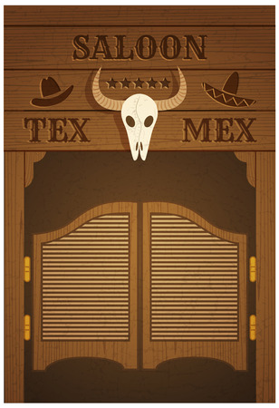 conceptual poster with image of western saloon representing mix of texas and mexican cultures Vectores