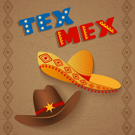 tex: conceptual poster template representing  mix of texas and mexican culture, can be used also as a template for restaurants with tex mex cuisine Illustration