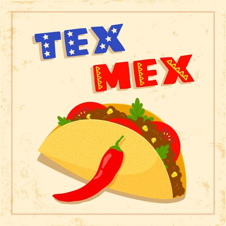ground beef: texas mexican cuisine menu template with taco, chili pepper and geometrical border on bright background Illustration