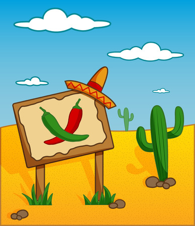 western food: funny cartoonish desert background with billboard and chilli images Illustration