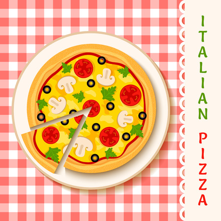 pizza place: vector template of a pizza on a plate and white text place