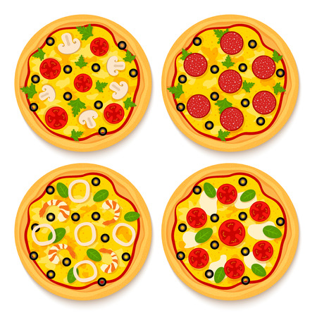 cilantro: set of 4 differnet pizzas: vegetarian, pepperoni, sea fruit and margherita on isolated background
