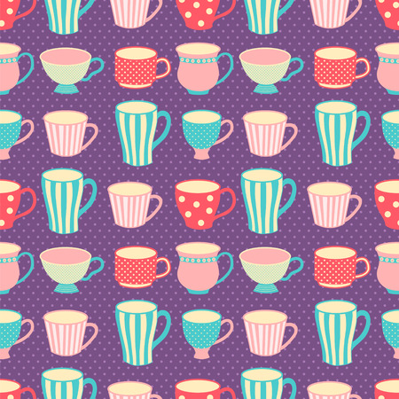 cute images: vector seamless pattern with images of cute vintage cups and mugs on dotted background Illustration
