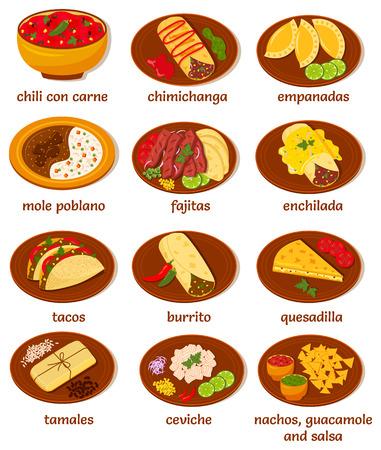big set of vector illustrations of the post popular and prominent mexican food: chili con carne, chimichanga, empanadas, mole poblano, fajitas, enchilada, tacos, burrito, quesadilla, tamales, ceviche, nachos, guacamole, salsa