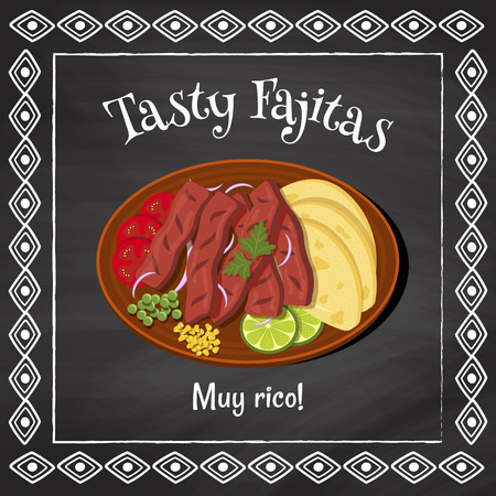 vector poster template on a chalkboard background with fajitas illustration and spanish text muy rico which is translated as very tasty