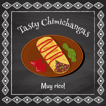 plackard: vector poster template on a chalkboard background with chimichanga illustration and spanish text muy rico which is translated as very tasty